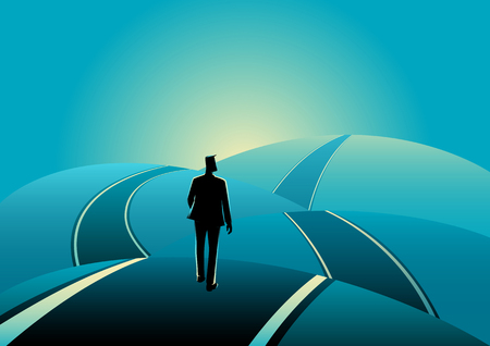 Business concept illustration of a businessman standing on the asphalt road over the hills Ilustração