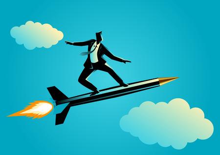 analogy: Business concept illustration of a businessman on a rocket pen