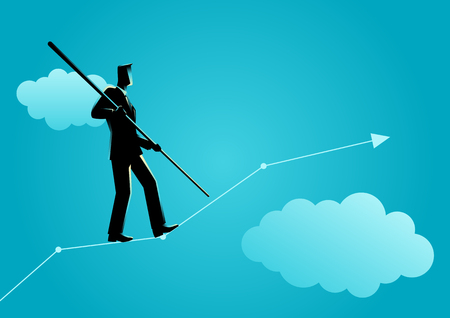 Business concept illustration of a businessman balancing carefully on increasing graphic chart