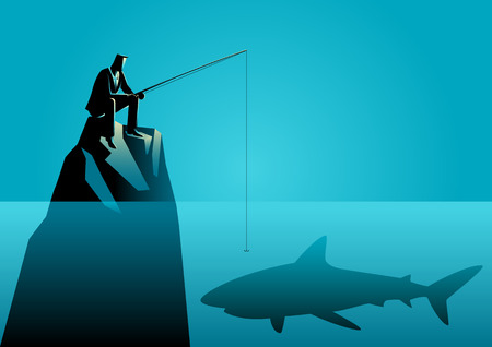 Business concept illustration of a businessman fishing a shark, unknown danger, unpredictable, or risk in business
