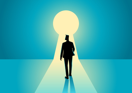 brighter: Business concept illustration of a businessman walking into keyhole with bright light