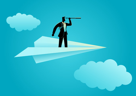 Business concept illustration of businessman using telescope on paper plane, opportunity, vision in business Illustration