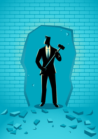 business challenge: Business concept illustration of a businessman breaking the wall with hammer