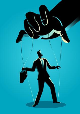 Business concept illustration d'un homme d'affaires contrôlé par le maître de marionnettes Vecteurs