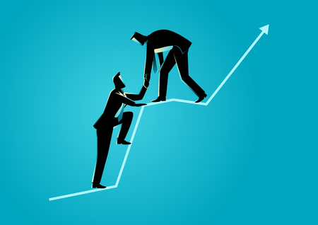 Business concept illustration of businessmen helping each other on top of graphic chart Vectores