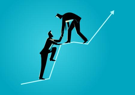Obchodní koncept ilustrace podnikatelů pomáhat si navzájem v horní části grafického diagramu