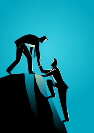 Business concept illustration d'hommes d'affaires aidant l'autre escalade au sommet de la roche Banque d'images - 64990976