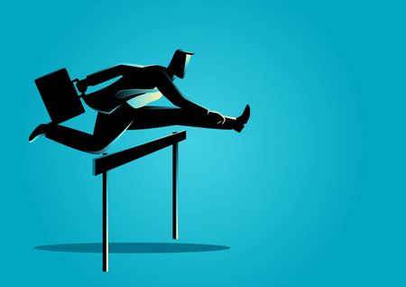 Silhouette illustration of a businessman running with briefcase, business, obstacle, energetic, dynamic concept Иллюстрация