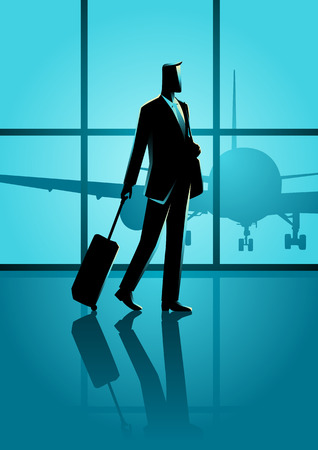 luggage airport: Business travel illustration. Businessman carrying a luggage at the airport Illustration