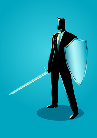 Business concept illustration of a businessman holding a sword and shield, preparation, protection, precaution in business concept Иллюстрация