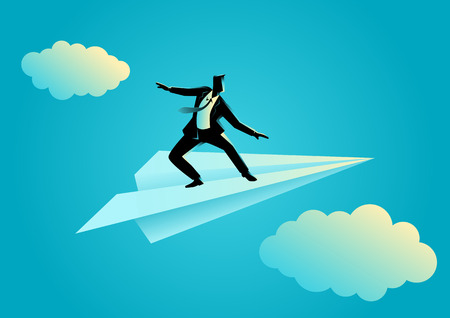 Business concept illustration of a businessman balancing on paper plane