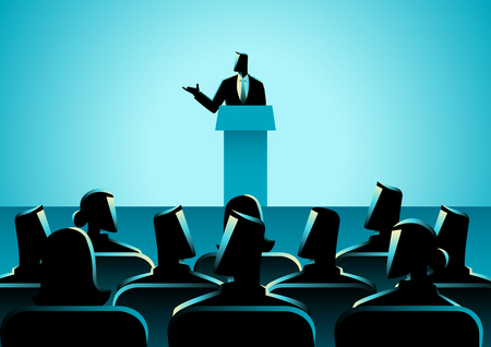 audiences: Business concept illustration of businessman giving a speech on stage. Audience, seminar, conference theme