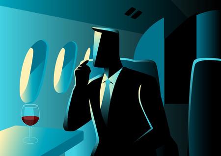 private jet: Business illustration. Executive businessman on private jet Illustration