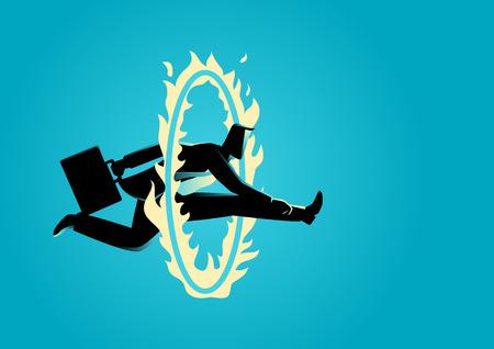 Business concept illustration. Homme d'affaires sauter à travers le cercle de feu, défi, obstacle, le concept habile Banque d'images - 64990982