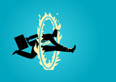 Business concept illustration. Businessman jumping through fire circle, challenge, obstacle, skillful concept Vectores