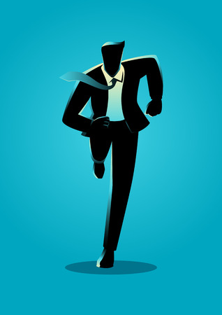 Silhouette illustration of a businessman running, business, energetic, dynamic concept
