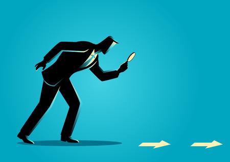 lupa: ilustración concepto de negocio. En búsqueda, detalles, pista