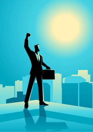Business concept illustration of  businessman standing on the rooftop of a high building raising his right hand. Concept for success, motivation in business