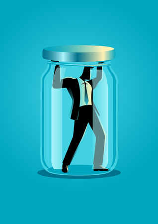Business concept illustration of a businessman trapped in a jar Illustration