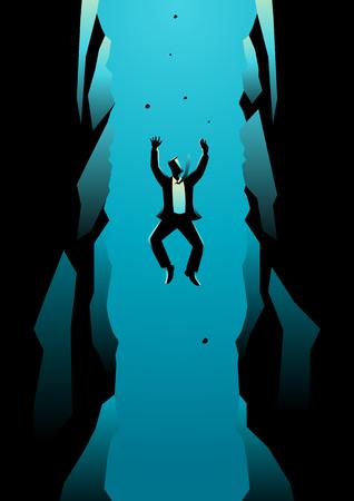 長いピットに落ちる実業家のビジネス コンセプト イラスト。失敗、破産、借金、ビジネス コンセプトのリスク  イラスト・ベクター素材