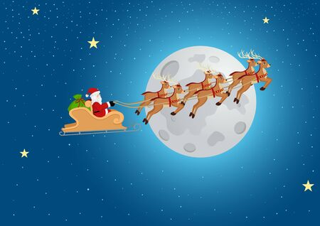 Cartoon illustration of Santa on sleigh and his reindeer flying against full moon