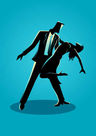 Silhouette illustration of a couple dancing