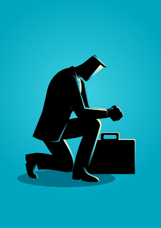arrodillarse: Ilustración de un hombre de negocios que ruega