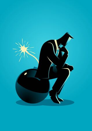 Business concept illustration of a businessman sitting on a bomb while thinking