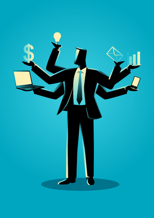 Business concept illustration for multitasking Çizim