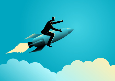analogy: Business concept illustration of a businessman on a rocket Illustration