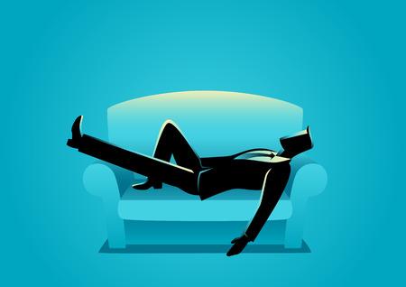 Illustrazione di affari di un uomo d'affari schiacciando un pisolino sul divano. Covata, relax, ricarica, il concetto di riposo