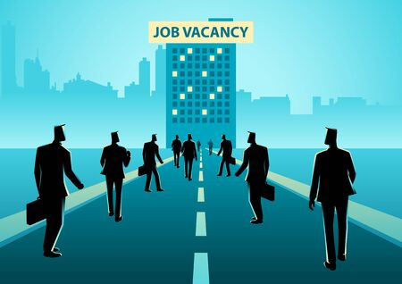 Business concept illustration of crowd of people walking to a building with job vacancy sign board on top of it