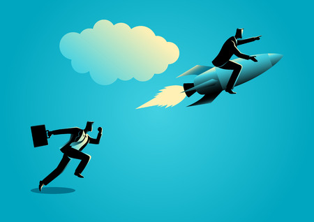 Business concept illustration of a running businessman racing with a businessman on rocket Vettoriali