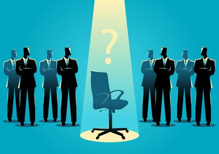 Illustrazione concetto di business di uomini d'affari in piedi con sedia vuota nel mezzo, candidato, promozione, concetto di posizione di carriera.