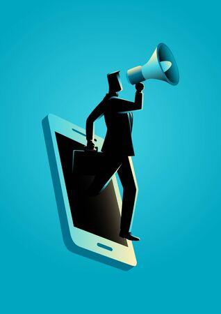 persuasive: Business concept illustration of a businessman holding a megaphone coming through from smart phone. Digital marketing, communication, advertisement concept Illustration