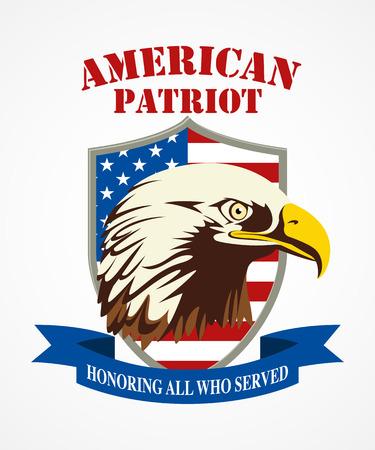 Illustration of American bald eagle head. American Patriot coat of arms Illustration