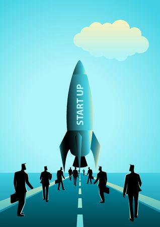 towards: Business concept illustration of group of businessman walking towards a rocket. Start up business concept Illustration