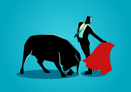 the matador: Business concept illustration of a courageous businessman being a matador. Controlling risk in business concept