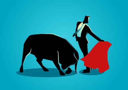corrida de toros: concepto de negocio ilustración de un hombre de negocios valiente ser un matador. El control de riesgos en el concepto de negocio