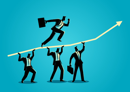 Business concept illustration of businessmen helping each other for his friend running on top of graphic chart 일러스트