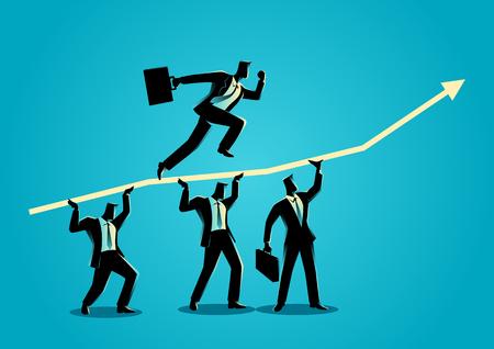 Ilustración concepto de negocio de los hombres de negocios ayudarse unos a otros por su amigo que se ejecuta en la parte superior de la carta gráfica Ilustración de vector