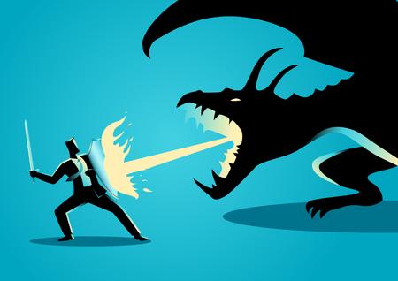 dragones: concepto de negocio ilustración de un hombre de negocios luchando contra un dragón. Riesgo, valor, liderazgo en concepto de negocio