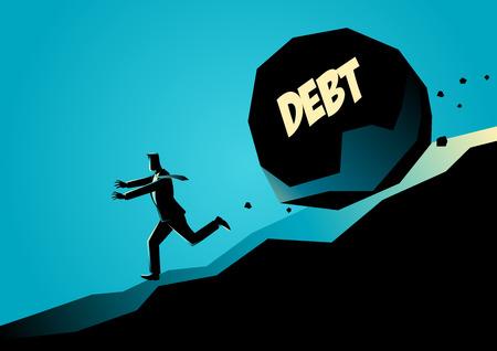 メッセージ負債が彼の下に転がっている大きな石から逃げて実業家のビジネス概念図