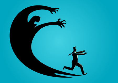 Business concept illustration of a businessman frightened with his own shadow