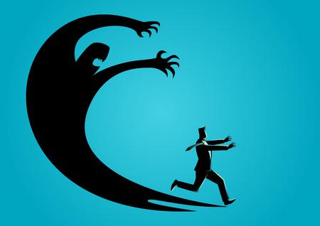 Illustrazione di concetto di affari di un uomo d'affari spaventato con la sua propria ombra
