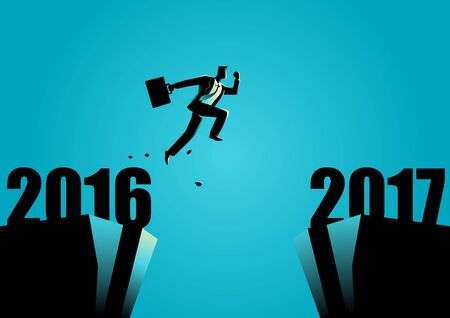 Business concept illustration of a businessman jumps from 2016 to 2017