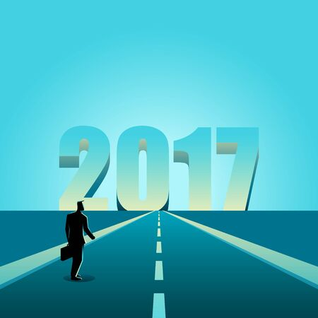 towards: Business concept illustration of a businessman walking towards the year 2017, new year resolution concept