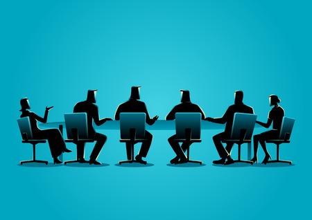 会議を持つビジネス人々 のビジネス概念図  イラスト・ベクター素材