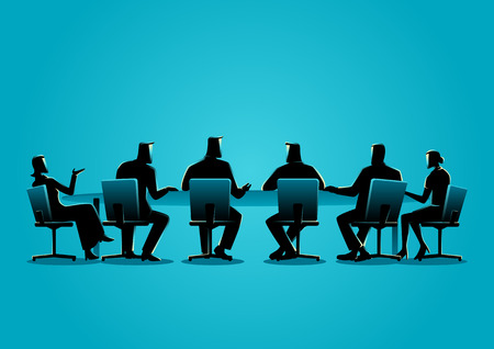 Business concept illustration of a business people having a meeting Vettoriali
