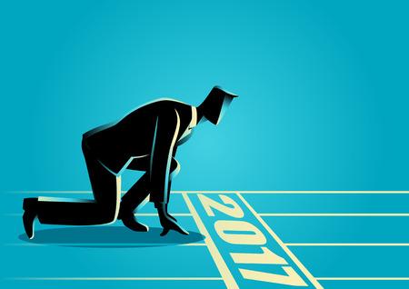 Uomo d'affari pronto a sprint sulla linea di partenza dell'anno 2017. carriera di partenza, concetto di business